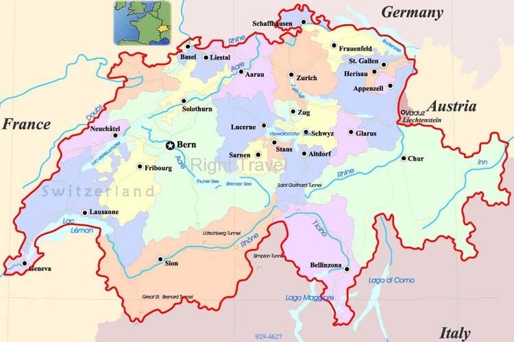 Switzerland Map Switzerland Location Map of Switzerland