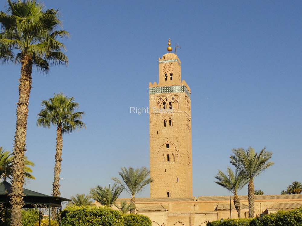 Morocco Marrakech Koutoubia Minaret From The Park