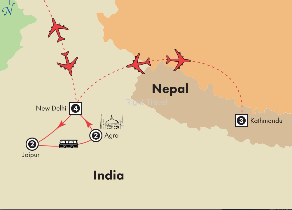 13 Day Golden Triangle of India with Nepal