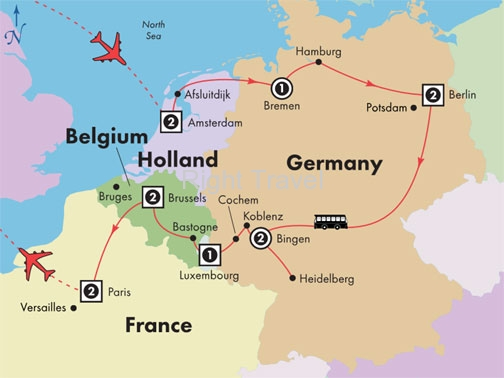 14 Day Holland, Germany, Luxembourg & Belgium with Paris