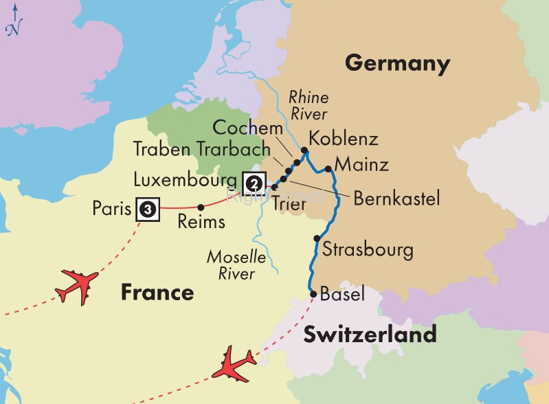 14 Day Moselle & Lower Rhine River Cruise with Paris & Luxembourg