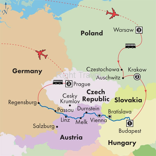 17 Day Danube River Cruise with Warsaw, Krakow, Budapest & Prague