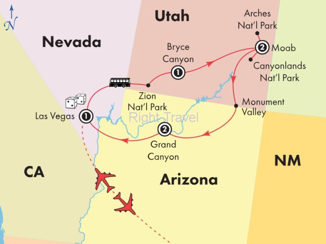 7 Day Affordable Zion, Bryce Canyon, Arches & Grand Canyon National Parks