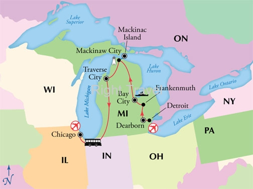 8 Day Michigan Lakes & Mackinac Island with Chicago