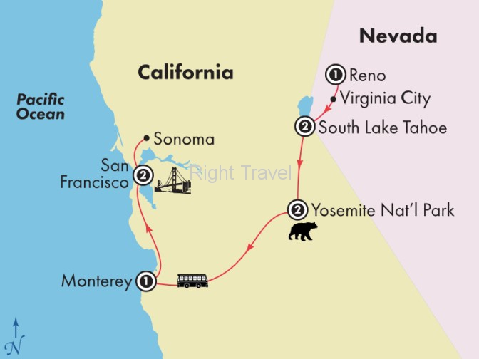 9 Day Californias Gold Coast with Yosemite & Tahoe