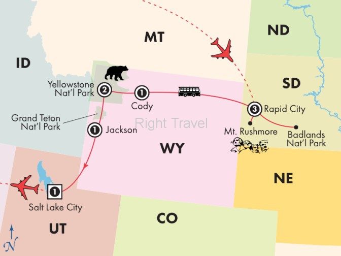 9 Day Classic National Parks, Mt. Rushmore, Yellowstone & Grand Teton with the Badlands